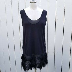 Banana Republic Fringe Tunic Top Flapper Black